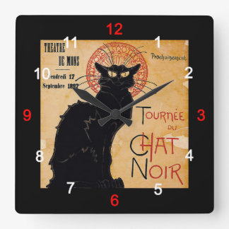 """Soon and the Black Cat Tour by Rodolphe Salis"" Clock"