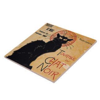 """Soon and the Black Cat Tour by Rodolphe Salis"" Large Square Tile"