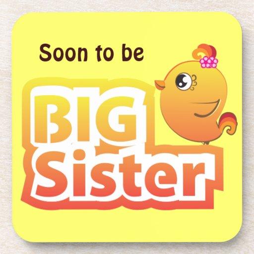 Soon to be big sister baby bird cartoon coaster