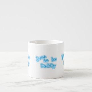 Soon to be daddy blue text mug espresso mug