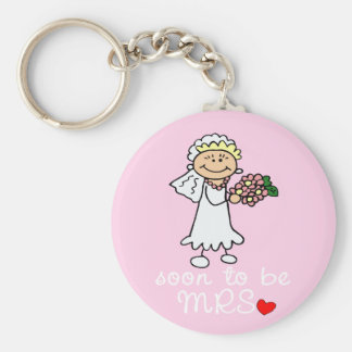 Soon to be MRS CUTE Stick Bride Basic Round Button Key Ring