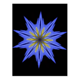 Soothing Hypnotic Yellow Blue Floral Kaleidoscope Postcard