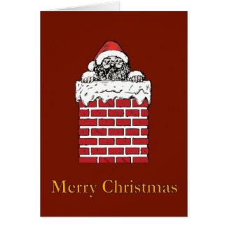 Sooty Santa in Chimney - Christmas Card
