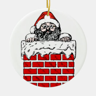 Sooty Santa in Chimney Christmas Ornament