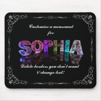 Sophia - The Name Sophia in 3D Lights (Photograph Mousepad