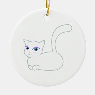 Sophie the Glamorous White Cat Christmas Ornament