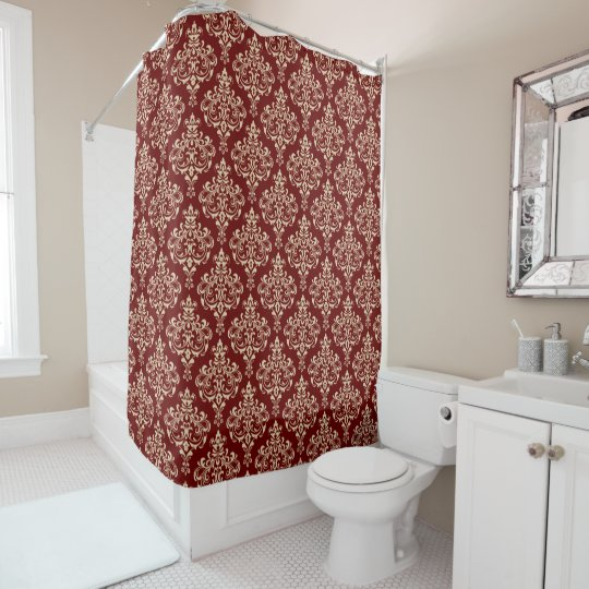 Sophisticated and Elegant Royal Damask Pattern Shower Curtain