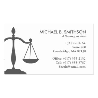 Sophisticated Attorney Business Card   Grey/white
