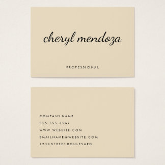 Sophisticated Beige Cursive Text Business Card