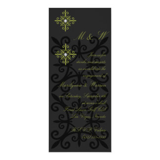 Sophisticated Black and Green Engagement Party 10 Cm X 24 Cm Invitation Card