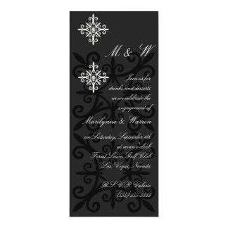 Sophisticated Black and White Engagement Party 10 Cm X 24 Cm Invitation Card