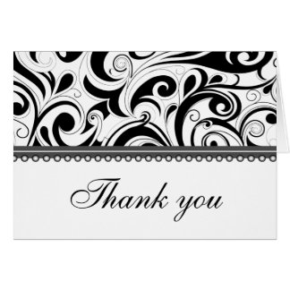 Sophisticated Black Swirls Thank You Card