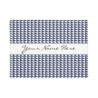 Sophisticated Blue & White Geometric Pattern Doormat