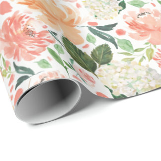 Sophisticated Blush Peach Watercolor Floral Light Wrapping Paper