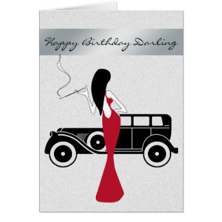 Sophisticated Elegant Chic Woman Happy Birthday Card