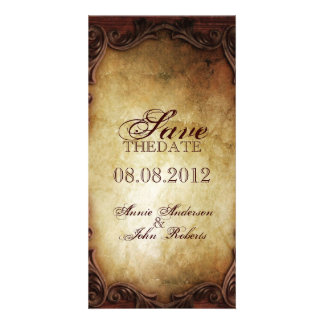 Sophisticated Elegant western vintage savethedate Customised Photo Card