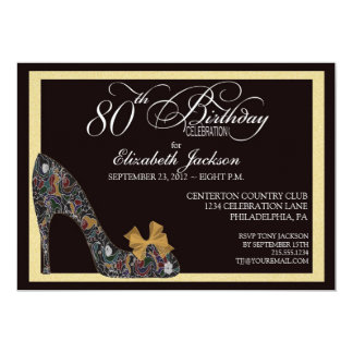 Sophisticated Floral Shoe 80th Birthday Invitation
