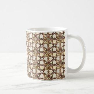 Sophisticated Gold Stained Glass Design Basic White Mug