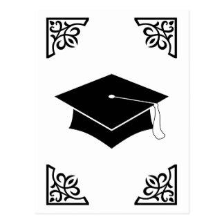 sophisticated graduation cap postcard