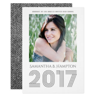 Sophisticated Gray White 2017 Graduate Card