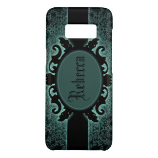 Sophisticated green Damask vintage monogram Case-Mate Samsung Galaxy S8 Case