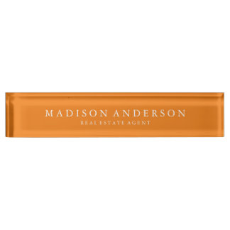Sophisticated in Orange | Desk Name Plate