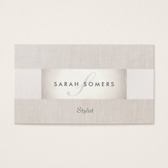 Sophisticated Modern Silver and Linen Monogrammed Business Card