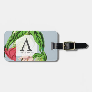 Sophisticated Monogram Floral Botanical Luggage Tag