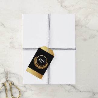 Sophisticated Monogram Gold Look Gift Tags