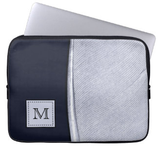 Sophisticated Navy and Silver Feather Monogram Laptop Sleeve