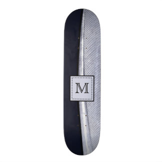 Sophisticated Navy and Silver Feather Monogram Skate Board Deck