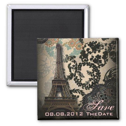 Sophisticated Paris Lace vintage save the date Square Magnet