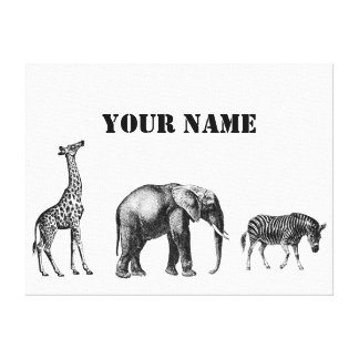 Sophisticated Safari, Giraffe, Elephant and Zebra Stretched Canvas Prints