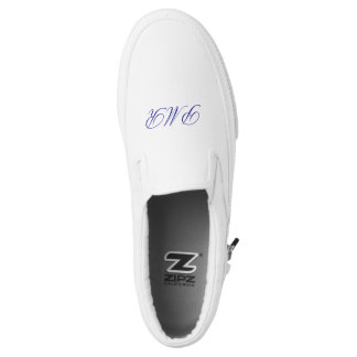 Sophisticated Script Monogram Initials Custom Colo Slip On Shoes