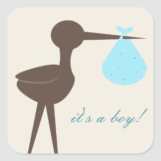 Sophisticated Stork Robin's Egg Blue It's A Boy Stickers
