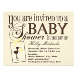 Sophisticated Stork Yellow Baby Shower Invitation