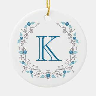 Sophisticated teal monogram christmas ornament
