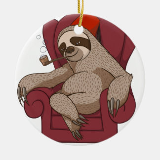 Sophisticated Three Toed Sloth Christmas Ornament