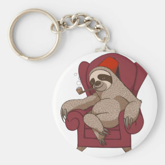 Sophisticated Three Toed Sloth Basic Round Button Key Ring