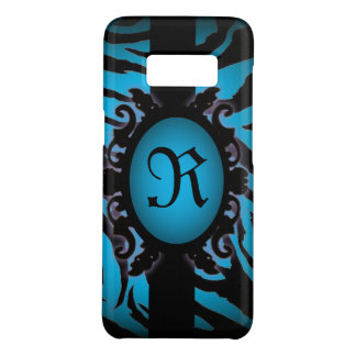 Sophisticated turquoise Zebra Print monogram Case-Mate Samsung Galaxy S8 Case
