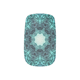 sophisticated vintage bohemian pattern teal lace fingernail transfer