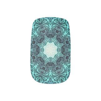 sophisticated vintage bohemian pattern teal lace fingernail transfer