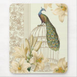 Sophisticated vintage Peacock & Cage Lily Mouse Pads