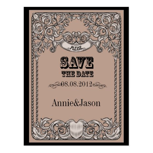 Sophisticated Western Wedding SaveTheDate Card Postcards