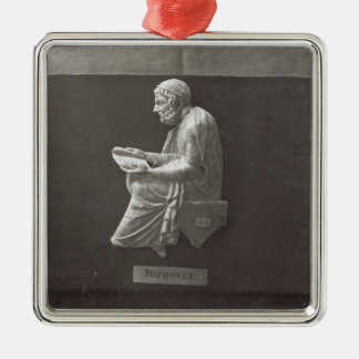 Sophocles  poet reading Silver-Colored square decoration