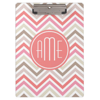 Sorbet Chevrons with Triple Monograms Clipboards