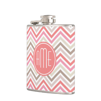 Sorbet Chevrons with Triple Monograms Hip Flask