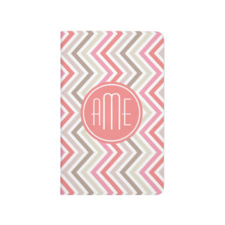Sorbet Chevrons with Triple Monograms Journal