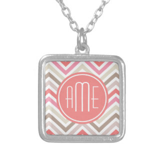 Sorbet Chevrons with Triple Monograms Silver Plated Necklace
