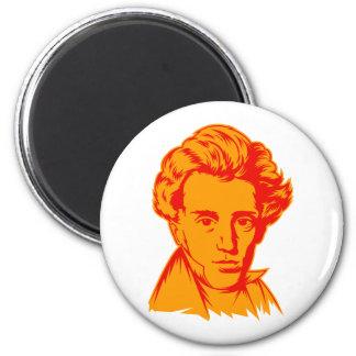 Soren Kierkegaard philosophy existentialist portra 6 Cm Round Magnet